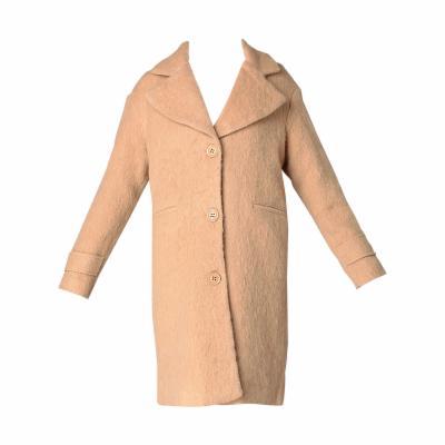 Manteau laine bouillie beige femme
